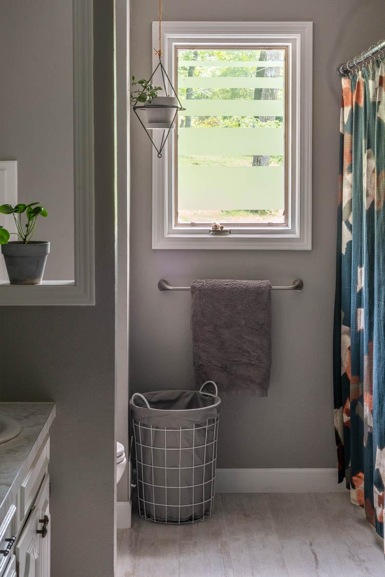 DIY privacy window film in bathroom
