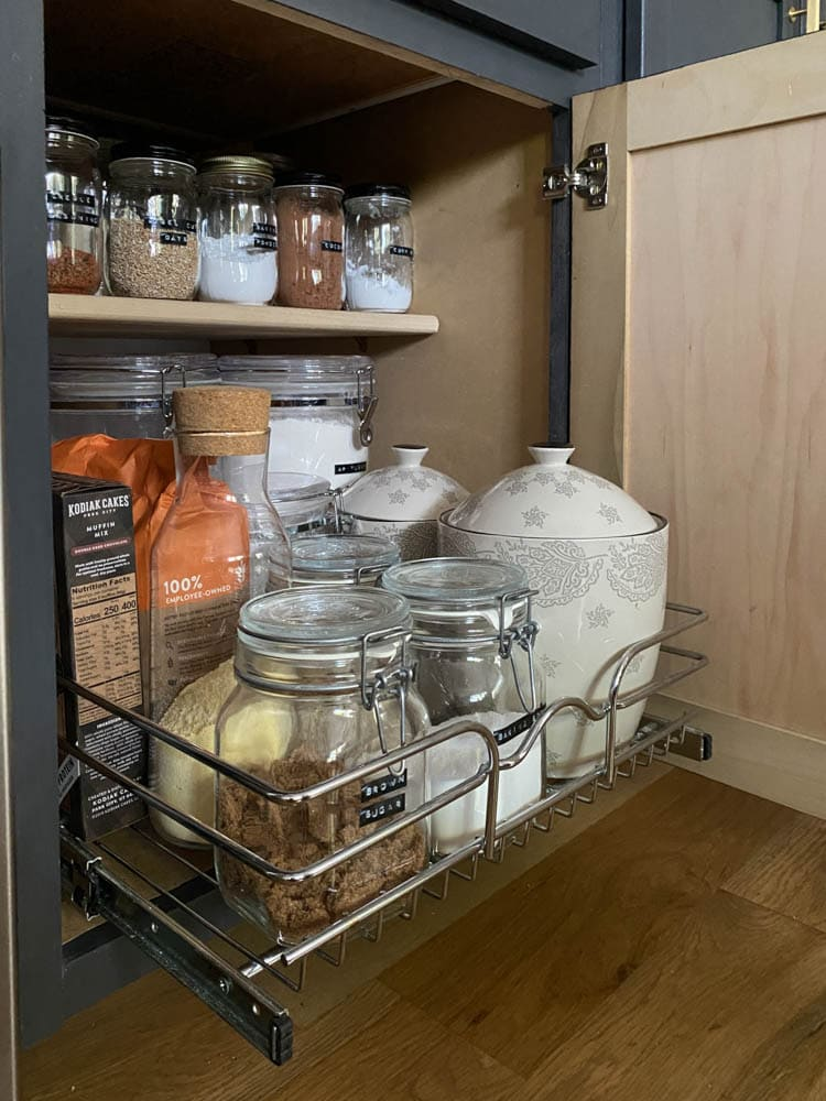 Add cabinet pull out shelves to kitchen cabinets for more kitchen organization