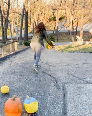 fun halloween activities - pumpkin fun with bowling